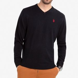 US Polo Assn Charcoal Grey V Neck Sweater Large